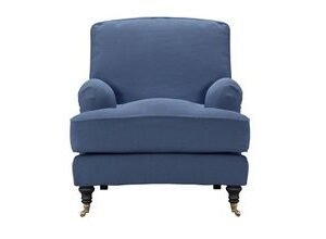 Bluebell Armchair in Oxford Blue Brushed Linen Cotton
