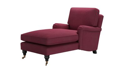 Bluebell Chaise Armchair in Boysenberry Brushed Linen Cotton