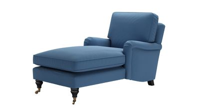 Bluebell Chaise Armchair in Heather Blue Smart Cotton