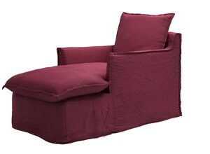 Isaac Chaise Armchair in Boysenberry Brushed Linen Cotton