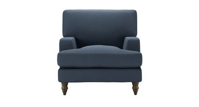 Isla Armchair in Midnight Blue Brushed Linen Cotton