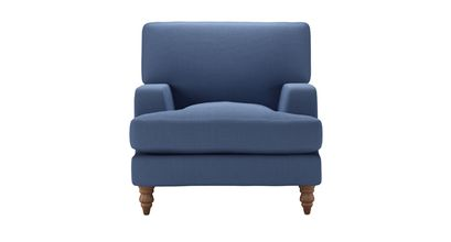 Isla Armchair in Oxford Blue Brushed Linen Cotton