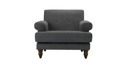 Remy Armchair in Charcoal Brushed Linen Cotton