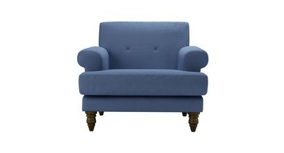 Remy Armchair in Oxford Blue Brushed Linen Cotton