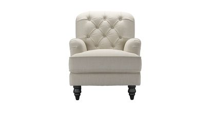 Snowdrop Button Back Small Armchair in Canvas Pure Belgian Linen