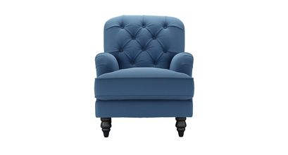 Snowdrop Button Back Small Armchair in Heather Blue Smart Cotton
