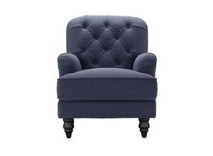 Snowdrop Button Back Small Armchair in Uniform House Plain Weave