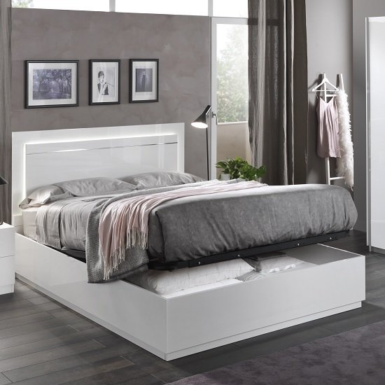 Abby King Size Ottoman Bed In White High Gloss And Lights