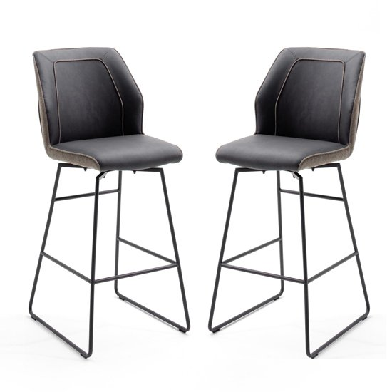 Aberdeen Brown PU Leather Bar Stool In Pair