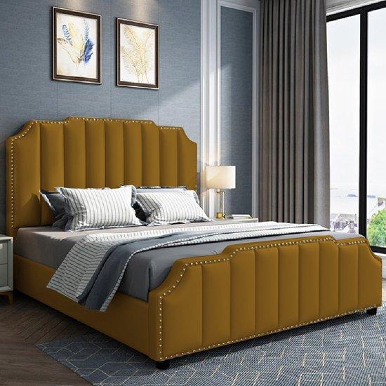 Abilene Plush Velvet Double Bed In Mustard