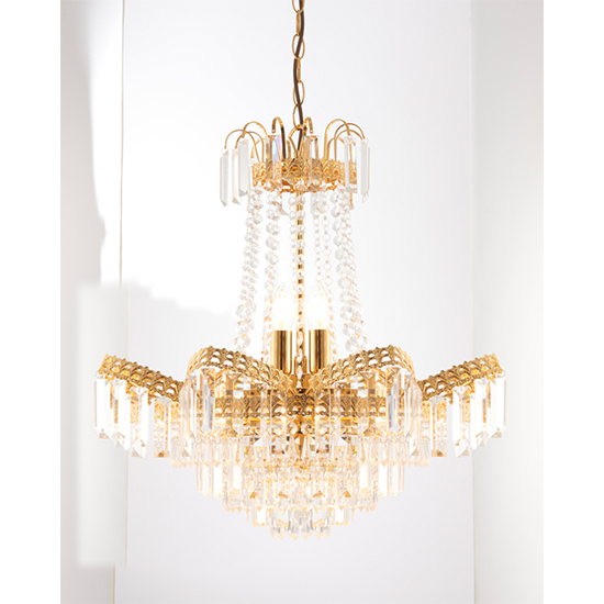 Adagio 9 Lights Faceted Glass Ceiling Pendant Light In Gold