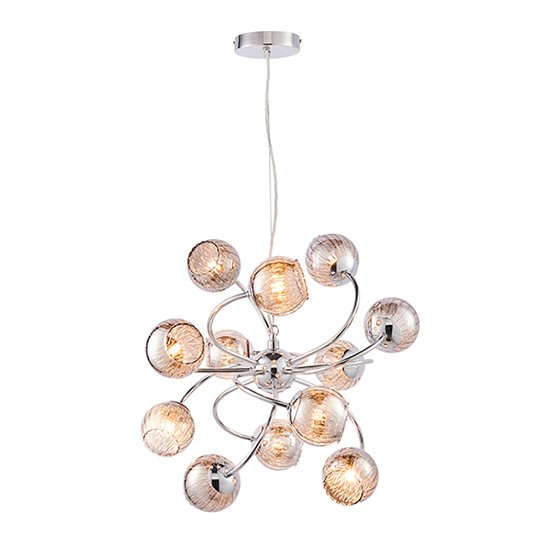 Aerith 12 Lights Smoked Glass Ceiling Pendant Light In Chrome