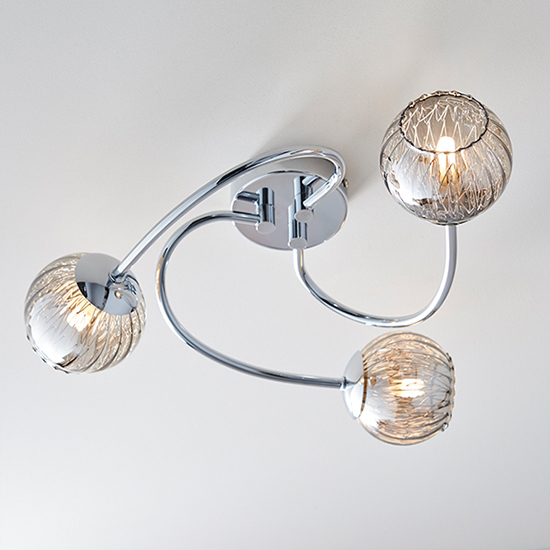 Aerith 3 Lights Smoked Glass Semi Flush Ceiling Light In Chrome