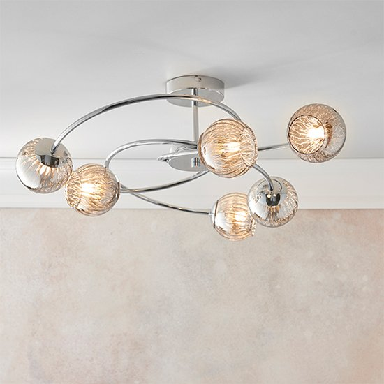 Aerith 6 Lights Smoked Glass Semi Flush Ceiling Light In Chrome