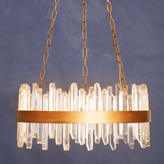 Akona Acrylic Chandelier Ceiling Light With Copper Band