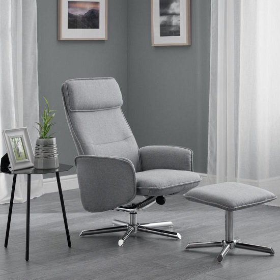Alden Fabric Recliner Chair With Foot Stool In Grey Linen