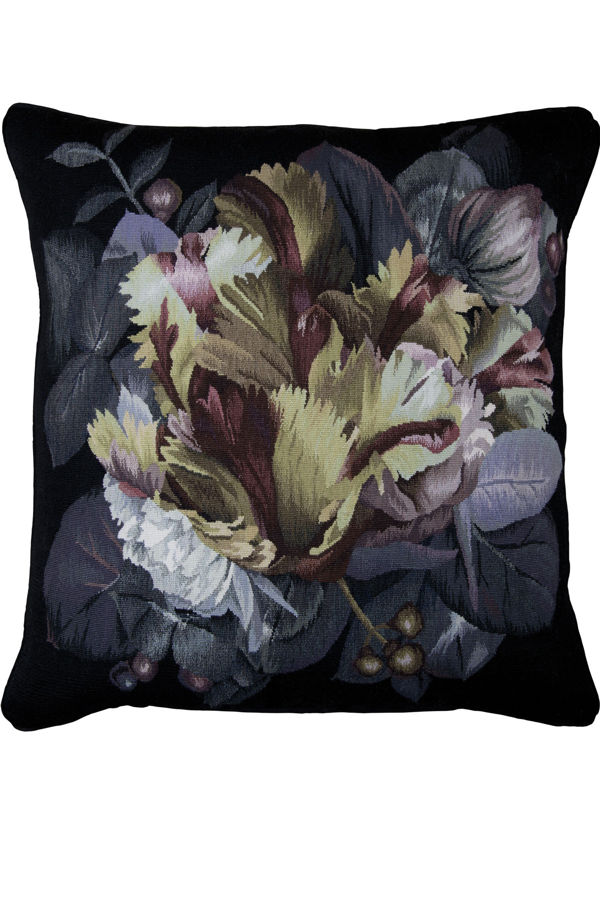Alexander McQueen Chiaroscuro Cushion Black Wool by The Rug Company