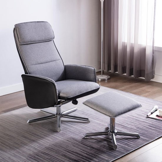 Alexis Fabric Recliner Chair In Grey And Black With Footstool
