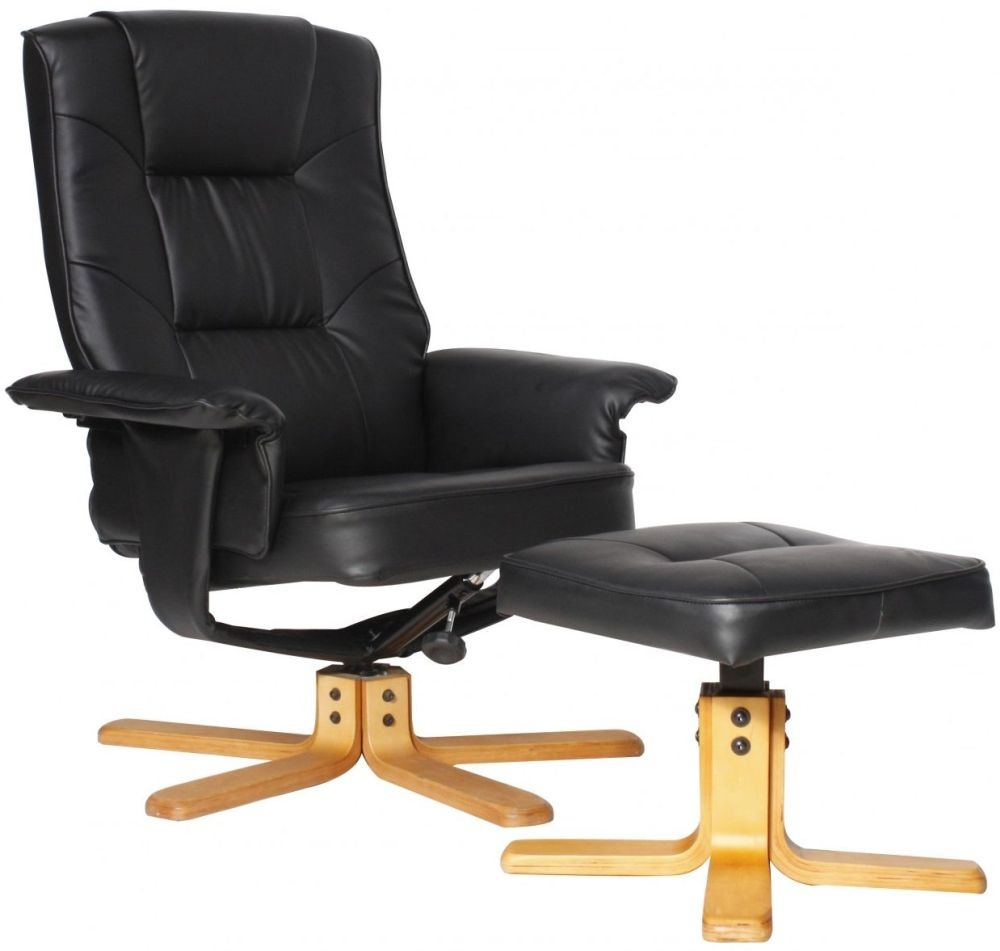 Alphason Drake Black Faux Leather Recliner Chair with Footstool - ARC7595-PU-BLK