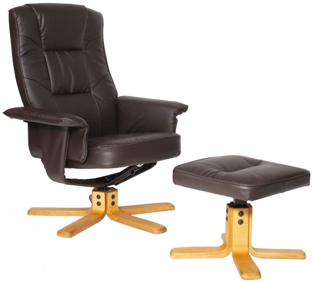 Alphason Drake Brown Recliner Chair with Footstool - ARC7595-PU-BR