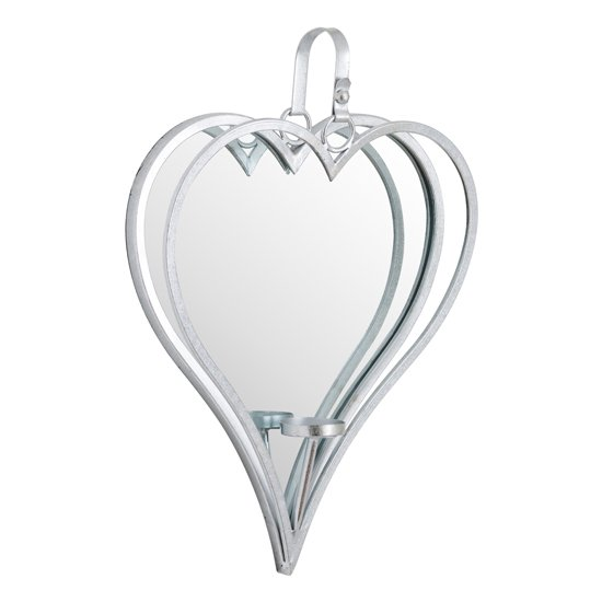 Amelia Large Mirrored Heart Candle Holder In Silver