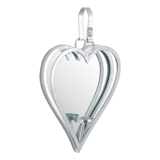 Amelia Small Mirrored Heart Candle Holder In Silver