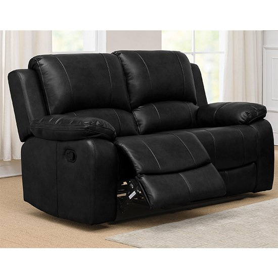 Andalusia Recliner LeatherGel And PU 2 Seater Sofa In Black