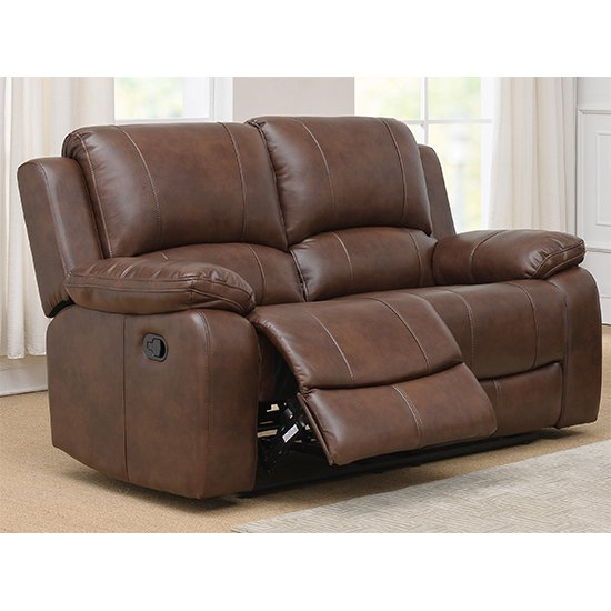 Andalusia Recliner LeatherGel And PU 2 Seater Sofa In Whiskey