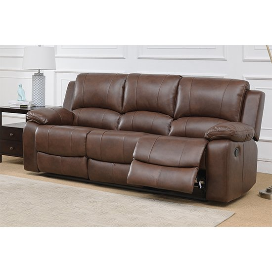 Andalusia Recliner LeatherGel And PU 3 Seater Sofa In Whiskey