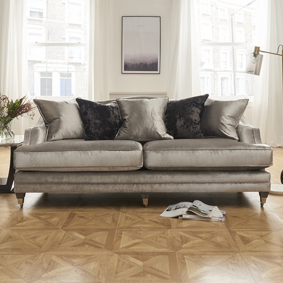 Belvedere Velvet 4 Seater Sofa In Pewter With 5 Scatters