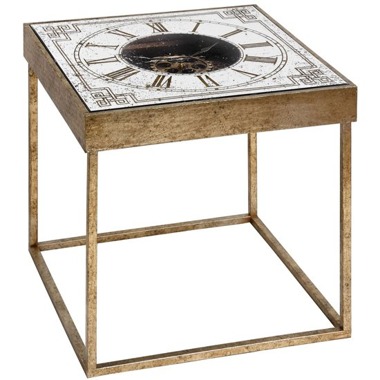 Bolek Mirrored Square Framed Clock Side Table In Gold