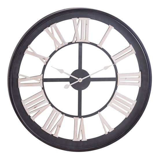 Breezier Skeleton Wooden Wall Clock In Black And White