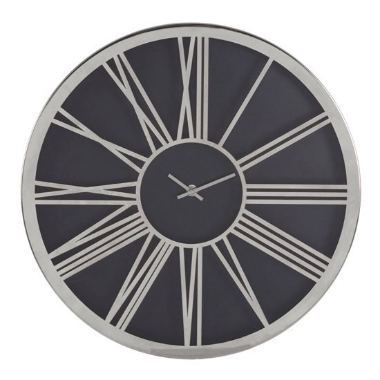 Breiley Minimal Design Wall Clock In Black And Chrome