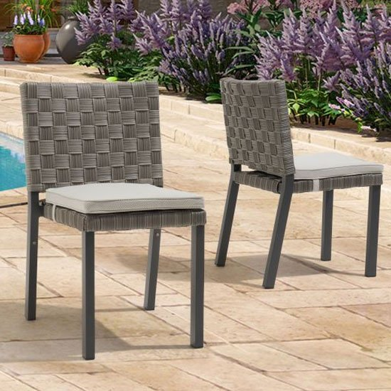 Carnation Grey Fabric Garden Dining Chair In A Pair