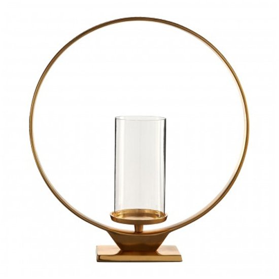 Circus Glass Large Candle Holder In Gold Aluminium Frame