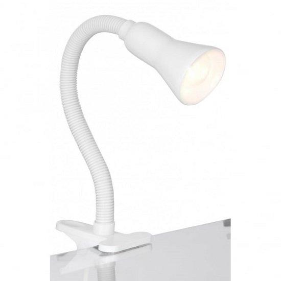 Desk Partner Single Light White Desk Table Lamp With Flexi Clip